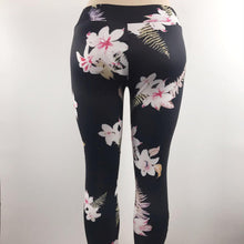Load image into Gallery viewer, Black & pink flower patterned pants
