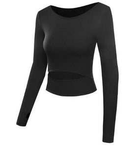 Slit-front long sleeved crop top
