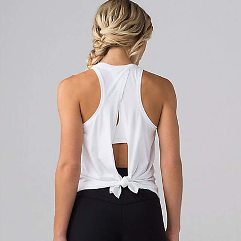 Sleeveless Vest with Crossover & Tie Back