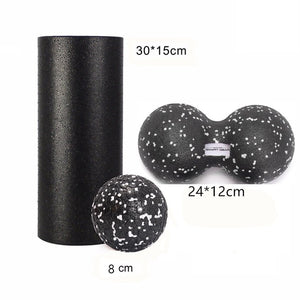 Cylinder, sphere and peanut foam massage roller set