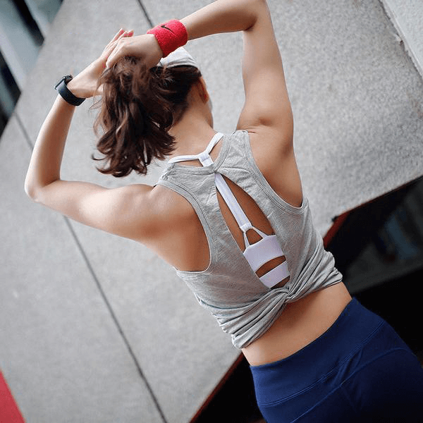 Cotton-mix twist-back vest