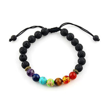 Load image into Gallery viewer, 7 color lava stone chakra bracelet