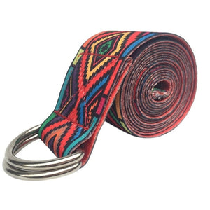 Patterned D-ring Yoga strap