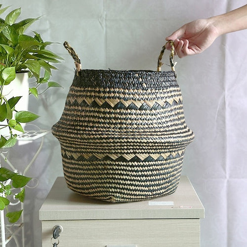 Colorful seagrass foldable basket