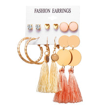 Load image into Gallery viewer, Tassel and stud earring set (6 pairs)
