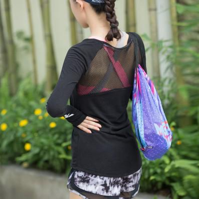 Long-sleeve mesh-back top