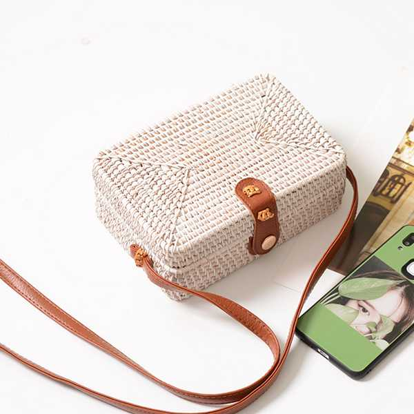 Rattan pop-close rectangular shoulder bag