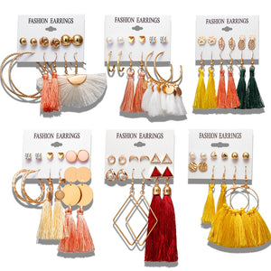 Tassel and stud earring set (6 pairs)
