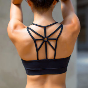 Wireless padded sports bra with sunbeam back