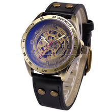 Load image into Gallery viewer, Antique Design Automatic Skeleton Mechanical Watch Vintage Leather Men's Wristwatch Skeleton Steampunk Clock Male Blue Dial