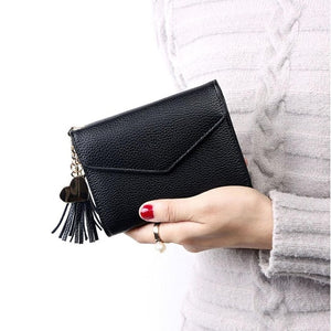 Money Women Artificial Leather Tassel Solid Fashion Bag Purse Wallet