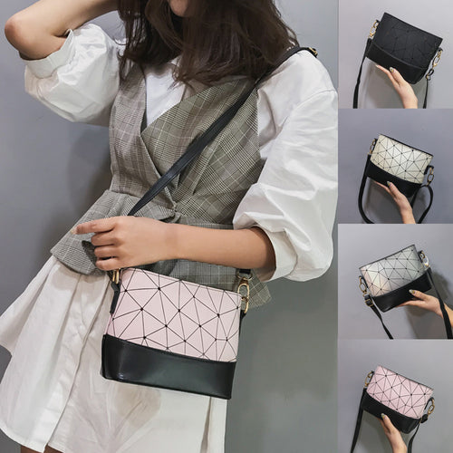 Fashion Women Leather Splice Shell Crossbody Bag Shoulder Bag Hand Bag