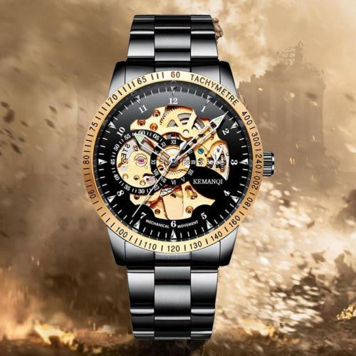 Mens Stainless Steel Band Skeleton Mechanical Watch