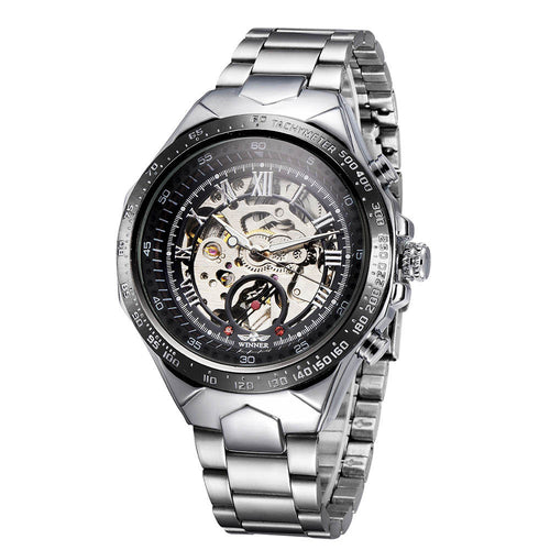 WINNER High-quality Skeleton Semi Automatic Men Mechanical Watch Big Dial Hand-Winding Business Men Wristwatch