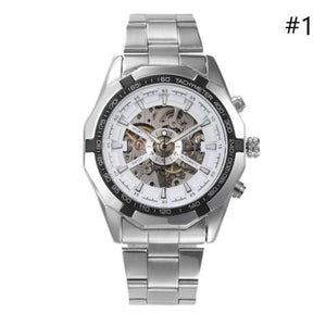 Mens Stainless Steel Strap Skeleton Mechanical Watch