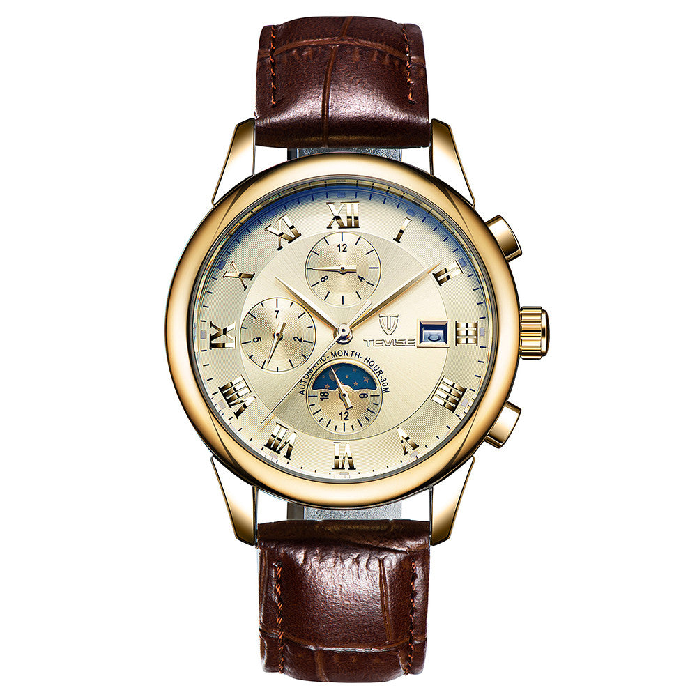 TEVISE Luxury Moon Phase Luminous Water-Resistant Automatic Man Mechanical Watch Genuine Leather Self-Winding Men Business Wristwatch Masculino Relogio + Box