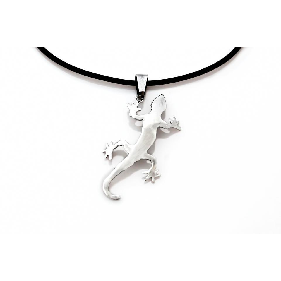 Tuatara (Lizard Native to New Zealand) Pendant on a Black Silicon Necklace
