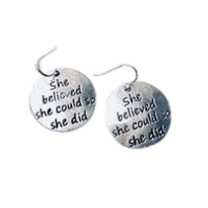 she believed she could so she did earrings