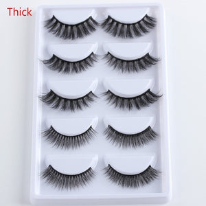 5 Pairs Multipack 3D Soft Mink Hair False Eyelashes Handmade