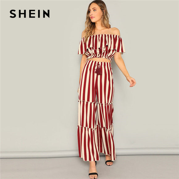 e00d456a1b SHEIN Ladies Elegant Ruffle Detail Striped Bardot Crop Top And Tired Pants  Two Piece Set Women