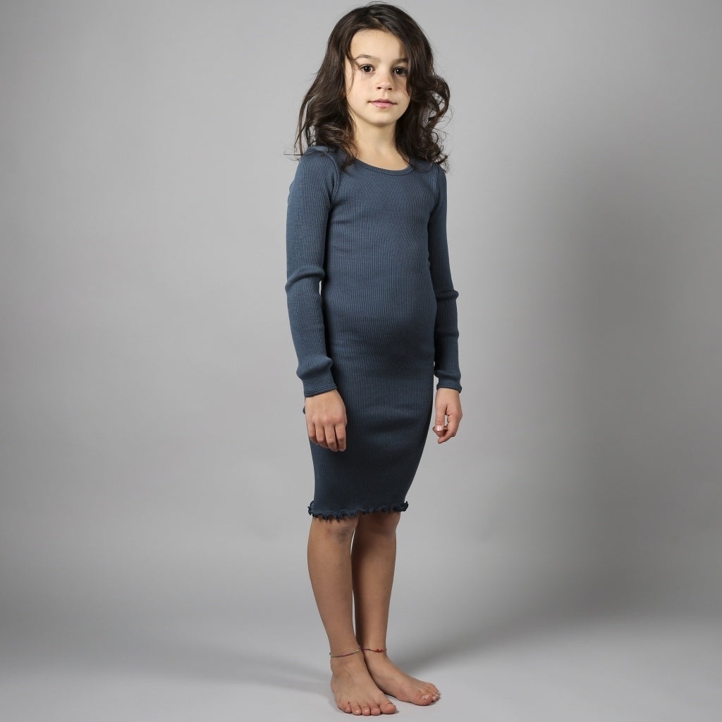 Dress babies wear organic sustainable luxurious fashion children clothes silk seamless merino wool natural design nordic minimalisma shop sale Alda 2-6Y Thunder Blue