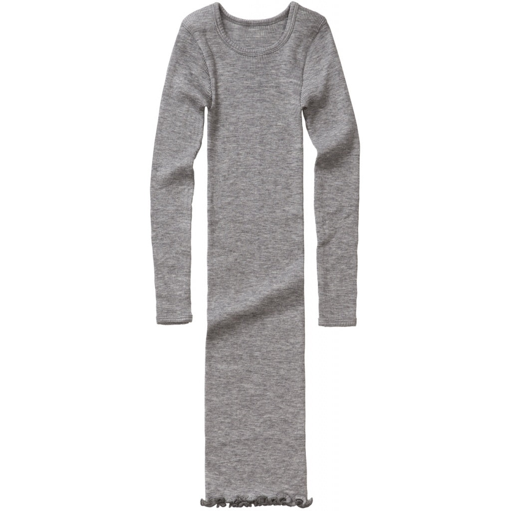 Dress babies wear organic sustainable luxurious fashion children clothes silk seamless merino wool natural design nordic minimalisma shop sale Alda 6-12Y Grey Melange