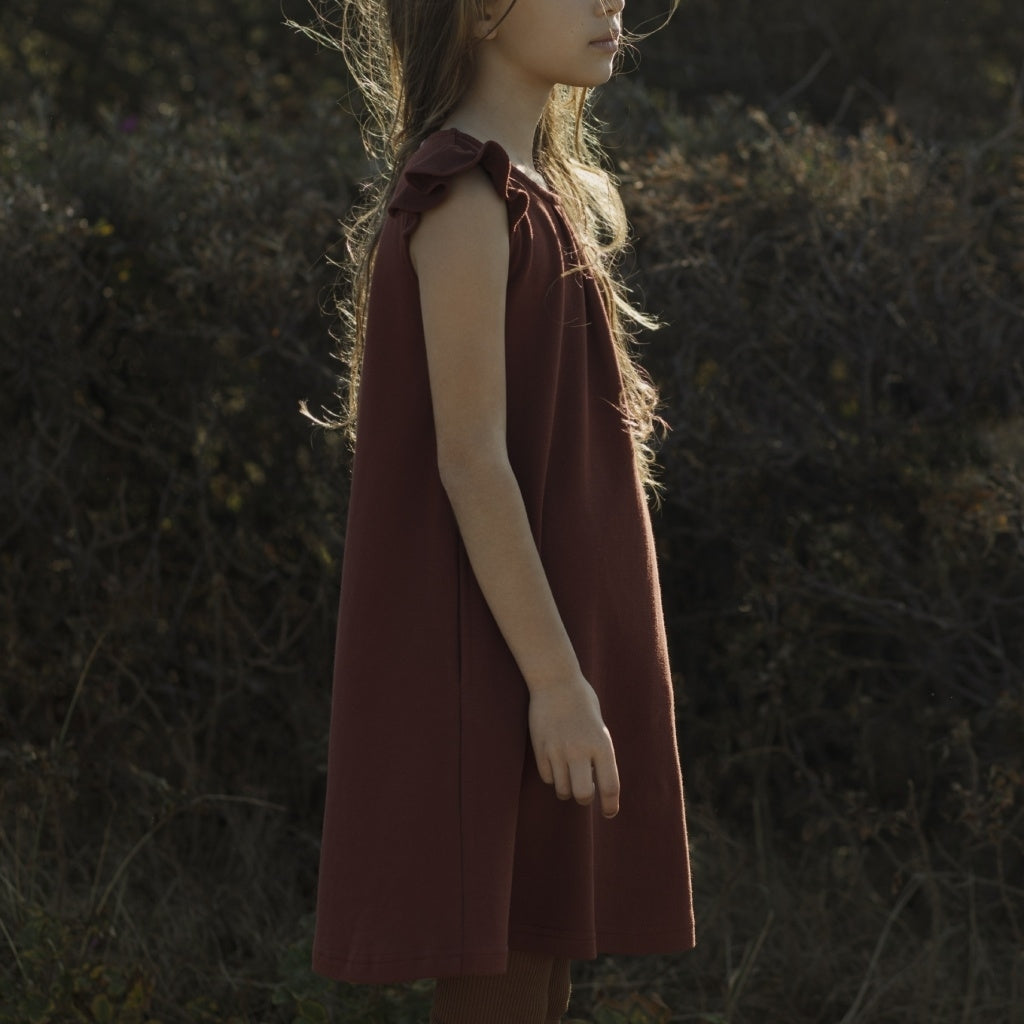 Dress babies wear organic sustainable luxurious fashion children clothes silk seamless merino wool natural design nordic minimalisma shop sale Estelle Burnt Red