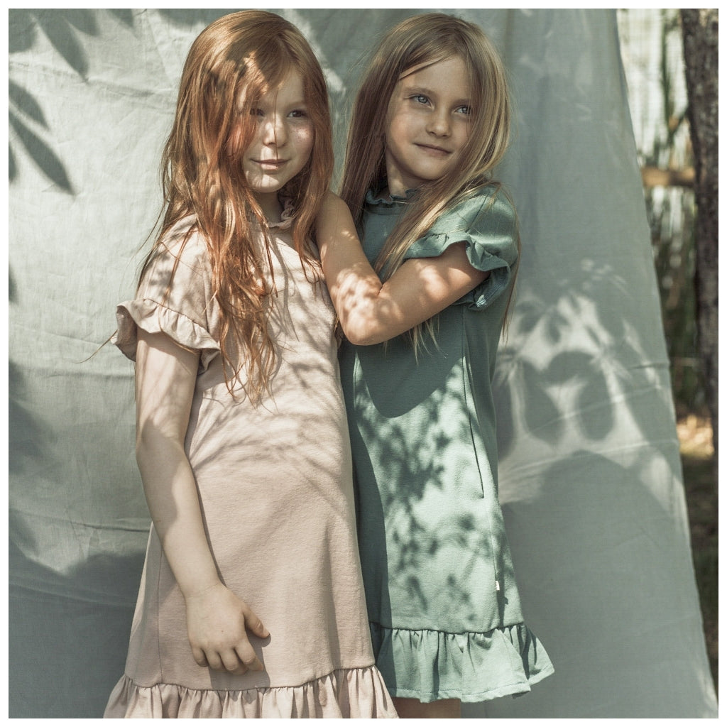 Dress babies wear organic sustainable luxurious fashion children clothes silk seamless merino wool natural design nordic minimalisma shop sale Sol Dusty Rose