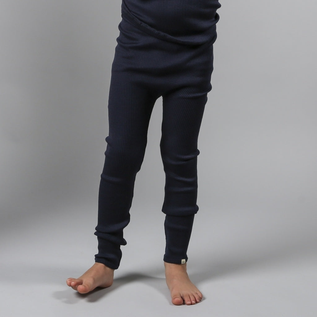 Leggings / pants babies wear organic sustainable luxurious fashion children clothes silk seamless merino wool natural design nordic minimalisma shop sale Bieber 6-14Y Dark Blue