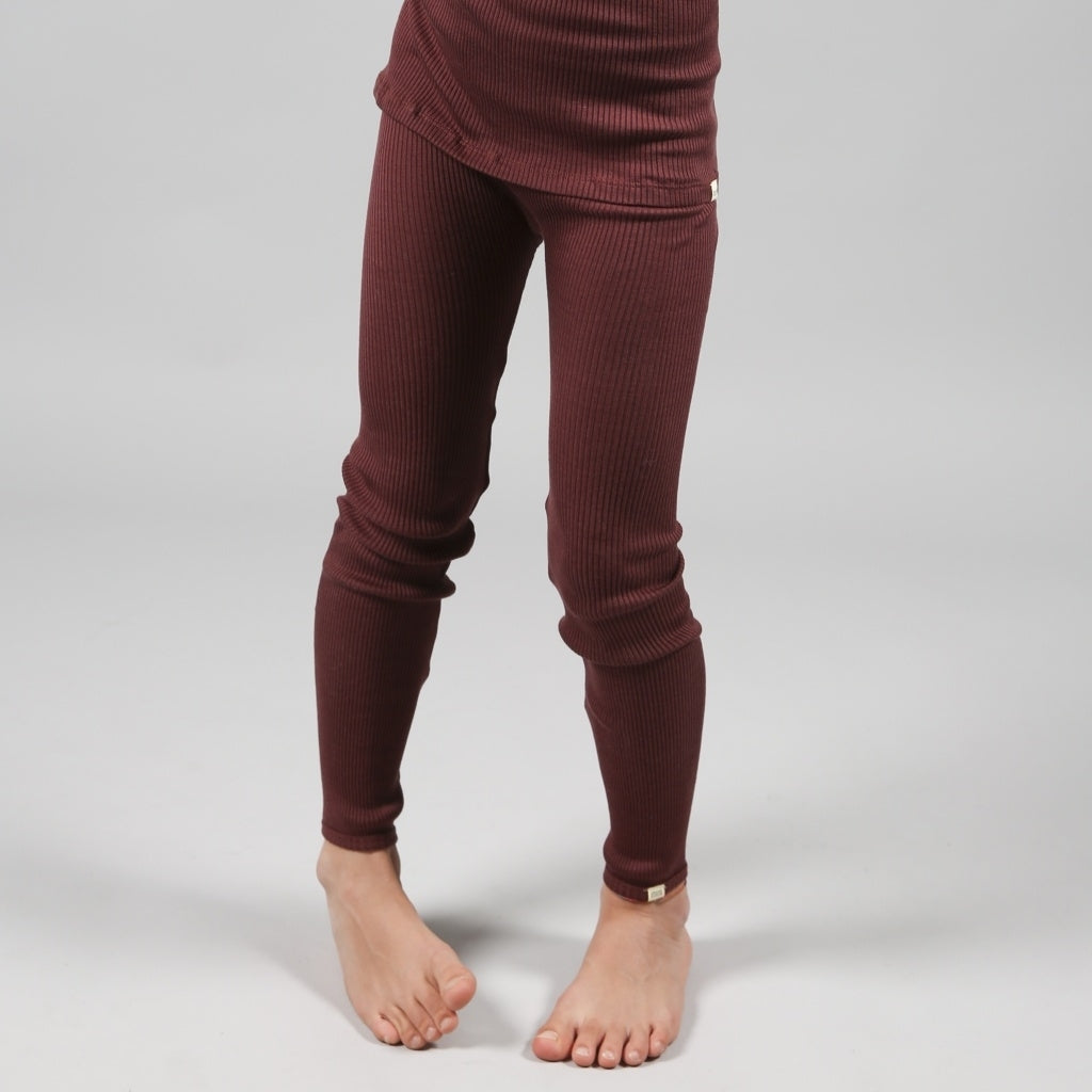 Leggings / pants babies wear organic sustainable luxurious fashion children clothes silk seamless merino wool natural design nordic minimalisma shop sale Bieber 6-14Y Mahogany