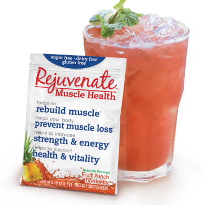 A cup filled with ice and Rejuvenate Muscle Health - Fruit Punch flavor