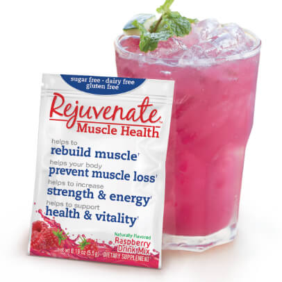 A cup filled with ice and Rejuvenate Muscle Health - Raspberry flavor