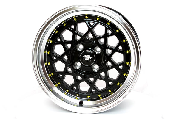 Fiori - Black w /Machined Lip and Gold Rivets - 15x8.0 4x100 Offset +20