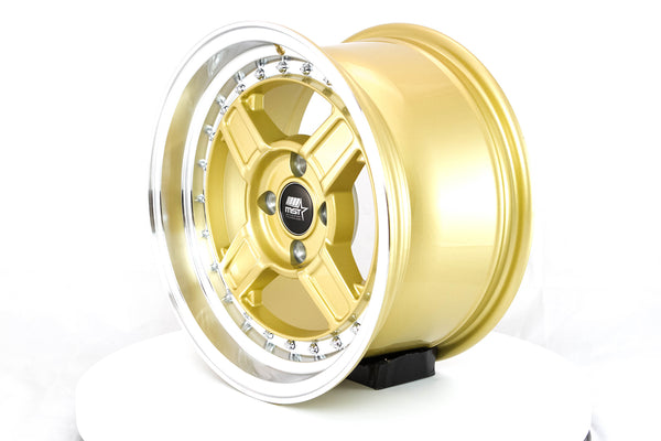 Kunai - Gold w/Machined Lip - 15x8.0 4x100 Offset +20