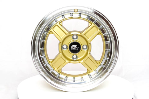 Kunai - Gold w/ Machined Lip - 15x8.0 4x100 Offset +20
