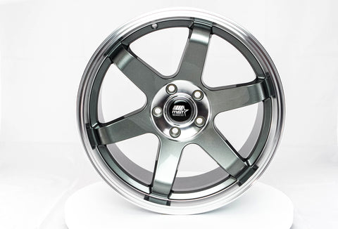 MT01 - Gunmetal w/ Machined Lip - 18x9.5 5x100 Offset +35