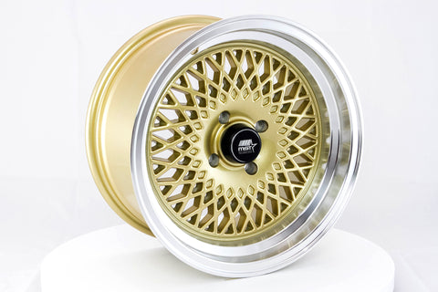 MT05 - Gold w/ Machined Lip - 15x8.0 4x100 Offset +20
