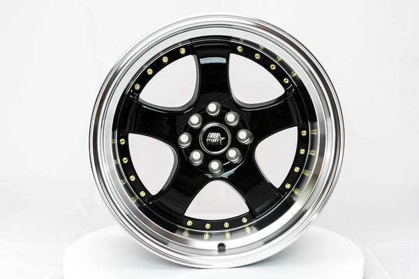 MT07 - Black w/ Machined Lip and Gold Rivets - 17x9.0 4x100/4x114.3 Offset +20