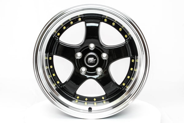 MT07 - Black w/ Machined Lip and Gold Rivets - 17x9.0 5x114.3 Offset +20