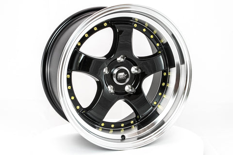 MT07 - Black w/Machined Lip Gold Rivets - 17x9.0 5x114.3 Offset +20