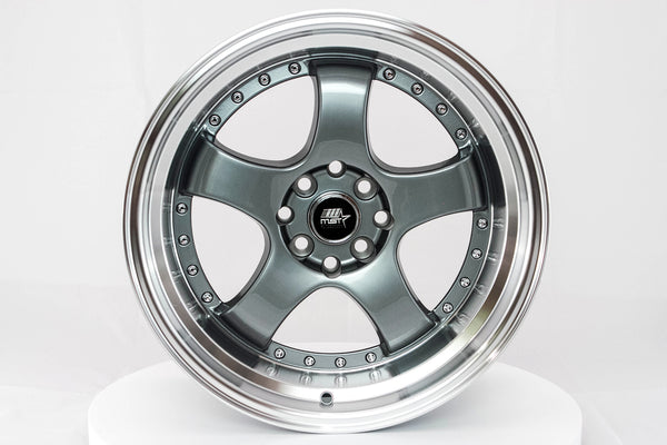 MT07 - Gunmetal w/ Machined Lip - 17x9.0 4x100/4x114.3 Offset +20