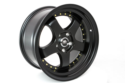 MT07 - Matte Black w/Gold Rivets - 17x9.0 5x114.3 Offset +20