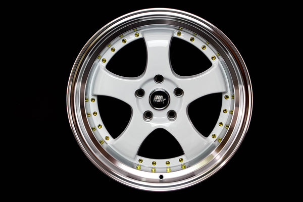 MT07 - White w/ Machined Lip and Gold Rivets - 18x8.5 5x114.3 Offset +20