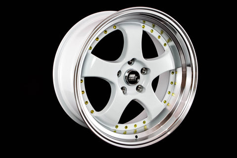 MT07 - White w/Machined Lip Gold Rivets - 18x8.5 5x114.3 Offset +20