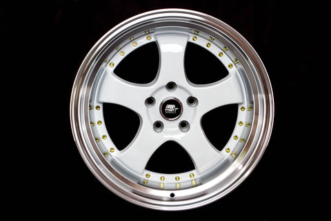 MT07 - White w/ Machined Lip and Gold Rivets - 18x9.5 5x114.3 Offset +20