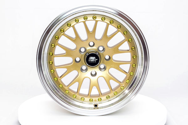 MT10 - Gold w/ Machined Lip and Chrome/Gold Rivets - 15x8.0 4x100/4x114.3 Offset +25