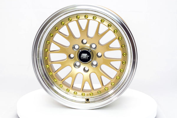 MT10 - Gold w/Machined Lip - 15x8.0 4x100/4x114.3 Offset +25