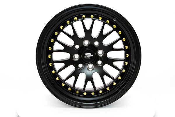 MT10 - Matte Black w/Gold Rivets - 15x8.0 4x100/4x114.3 Offset +25