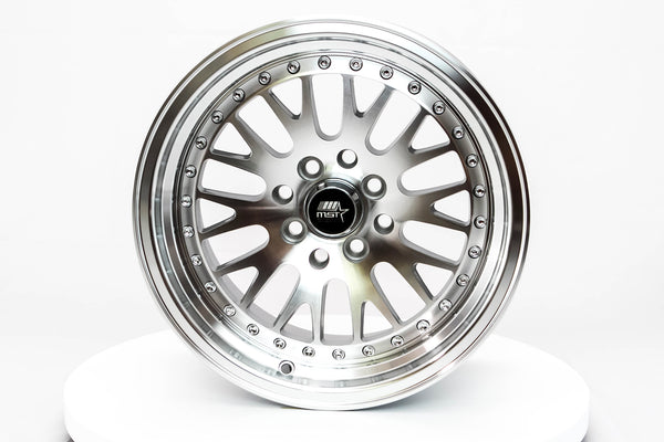 MT10 - Silver w/ Machined Face and Chrome/Gold Rivets - 15x8.0 4x100/4x114.3 Offset +25