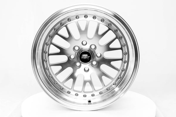 MT10 - Silver w/ Machined Face and Chrome/Gold Rivets - 16x8.0 4x100/4x114.3 Offset +20